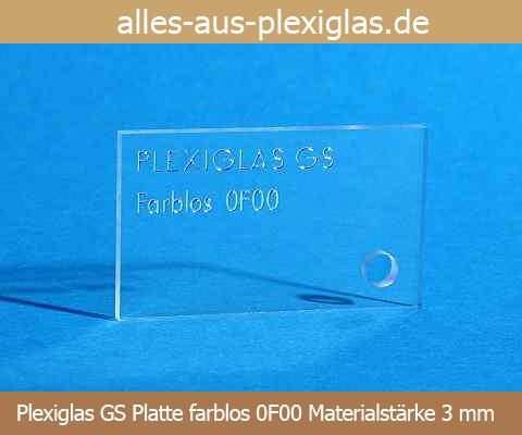 PLEXIGLAS<sup>®</sup> GS Platte / farblos / 3 mm
