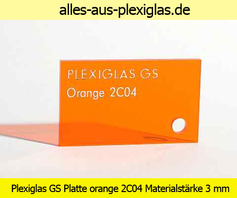 PLEXIGLAS<sup>®</sup> GS Platte / orange / 2C04 / 3 mm
