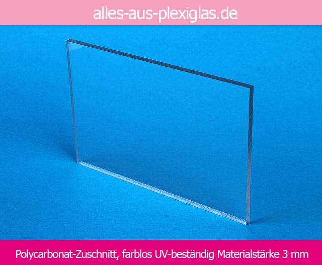 Polycarbonat-Zuschnitt, farblos / UV-beständig / 3 mm